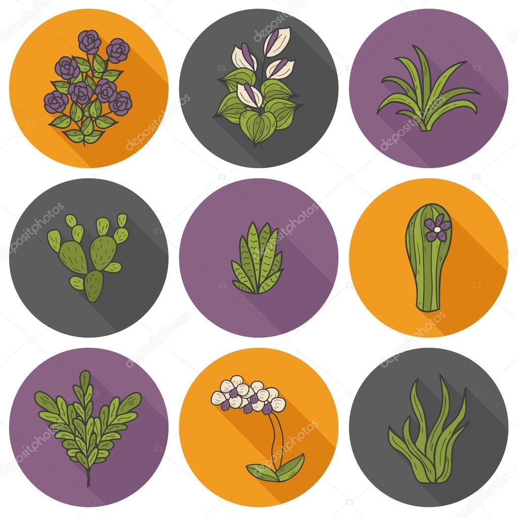 Houseplants cartoon icons