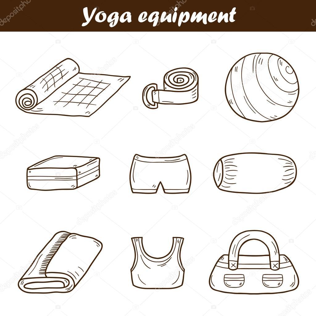 Set of yoga equipment icons — Stock Vector © petitelili  92734680 d07136ebd