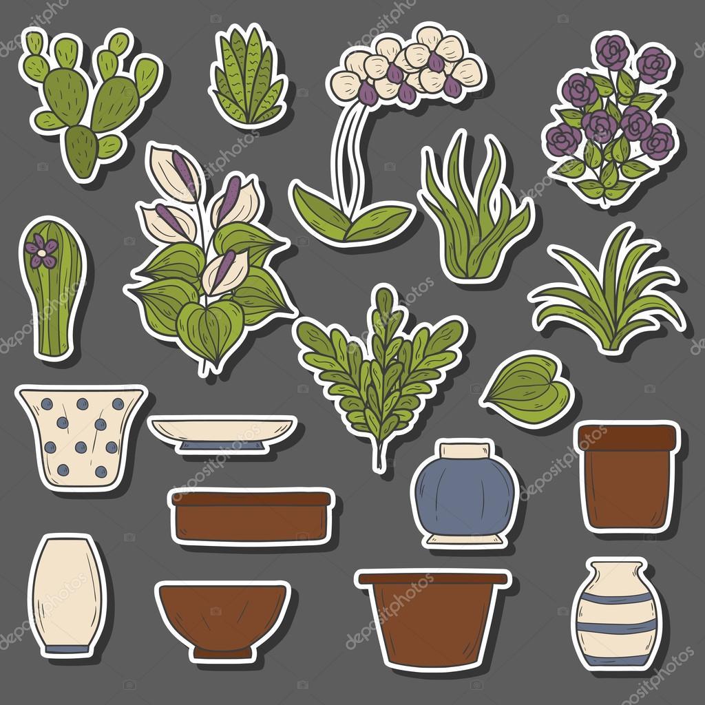 Houseplants cartoon stickers