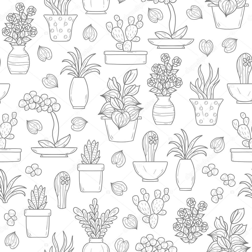 Seamless houseplant background
