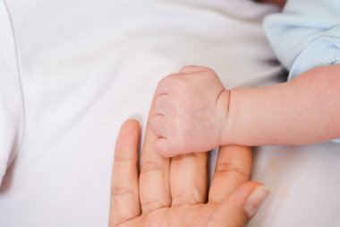 Baby holding finger of mother