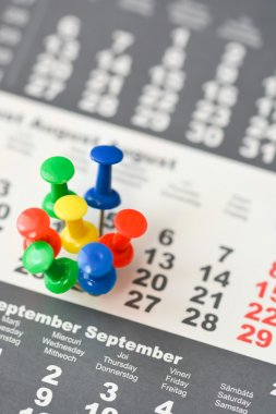 colorful drawing pins on calendar sheet