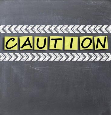 Caution text on blackboard