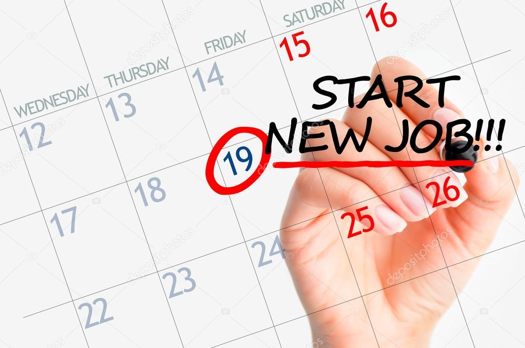 Calendar Photography Jobs : Start new job date in calendar — stock photo ai