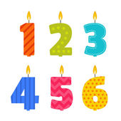 Photo Vector flat design birthday candle set in the shape of numbers