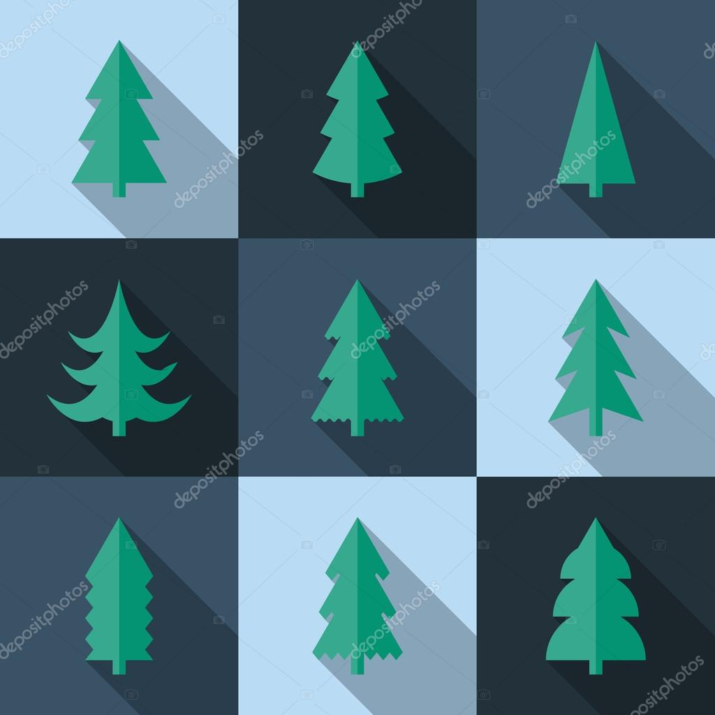 Flat icon set of Christmas trees