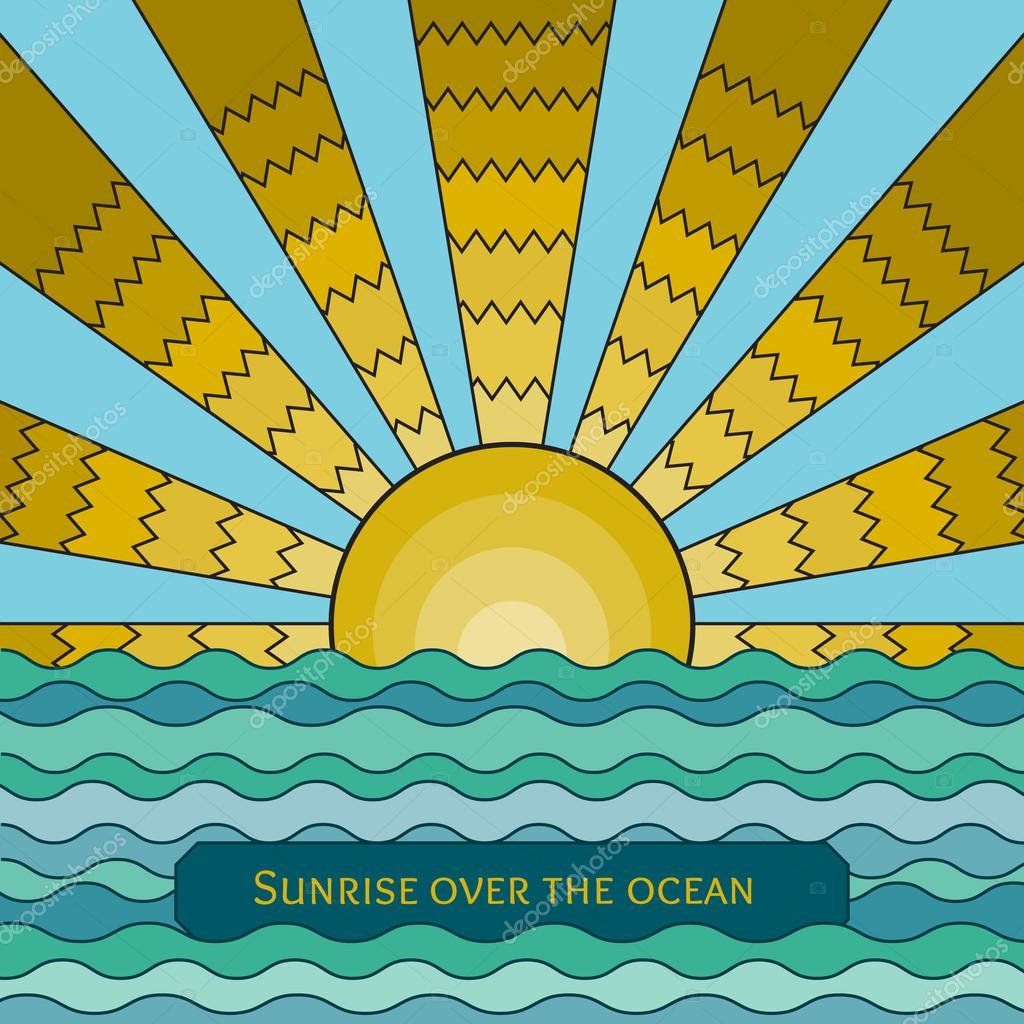 stained-glass window style illustration of sunrise over the ocea