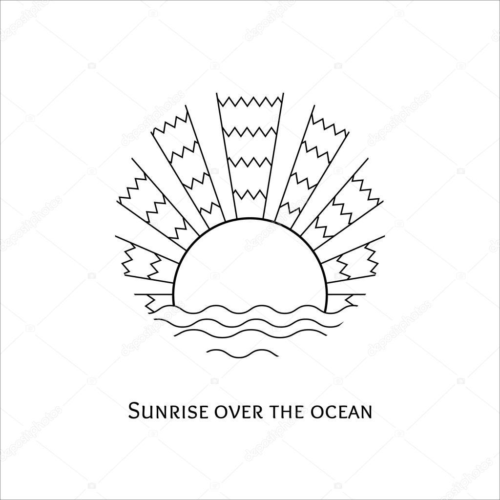 Line Drawing Sunrise : A sunrise az óceán felett illusztráció — stock vektor