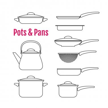 Set of silhouettes utensils. Pots, pans, kettle