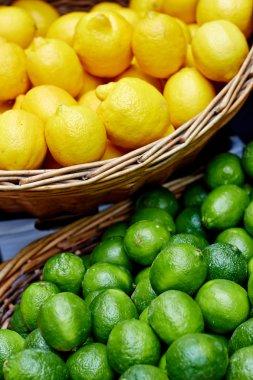 Fruit display with lemons and limes