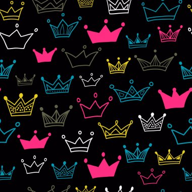 Crowns vector seamless pattern on black background. Vector illustration.
