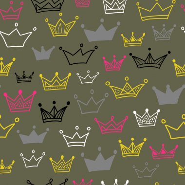 Crowns vector seamless pattern on pastel background. Vector illustration. Endless pattern.