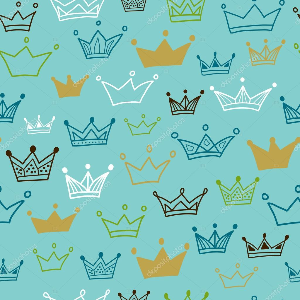 Crowns vector seamless pattern on pastel background. Vector illustration.