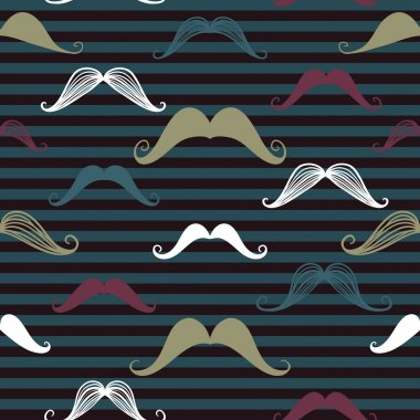 Mustache seamless pattern in vintage style. Pattern or texture with curly retro gentleman mustaches on striped background. Dark backdrop.
