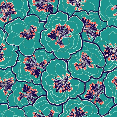 Beautiful floral seamless pattern. Garden blossom pastel flowers. Vector illustration. Seamless pattern can be used for wallpapers, web page background, wrapping papers, surface textures.