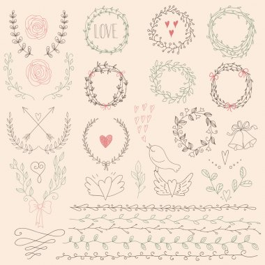 Set of Floral Design Elements. Wedding  set with arrows, hearts, laurel, wreaths, ribbons and labels.