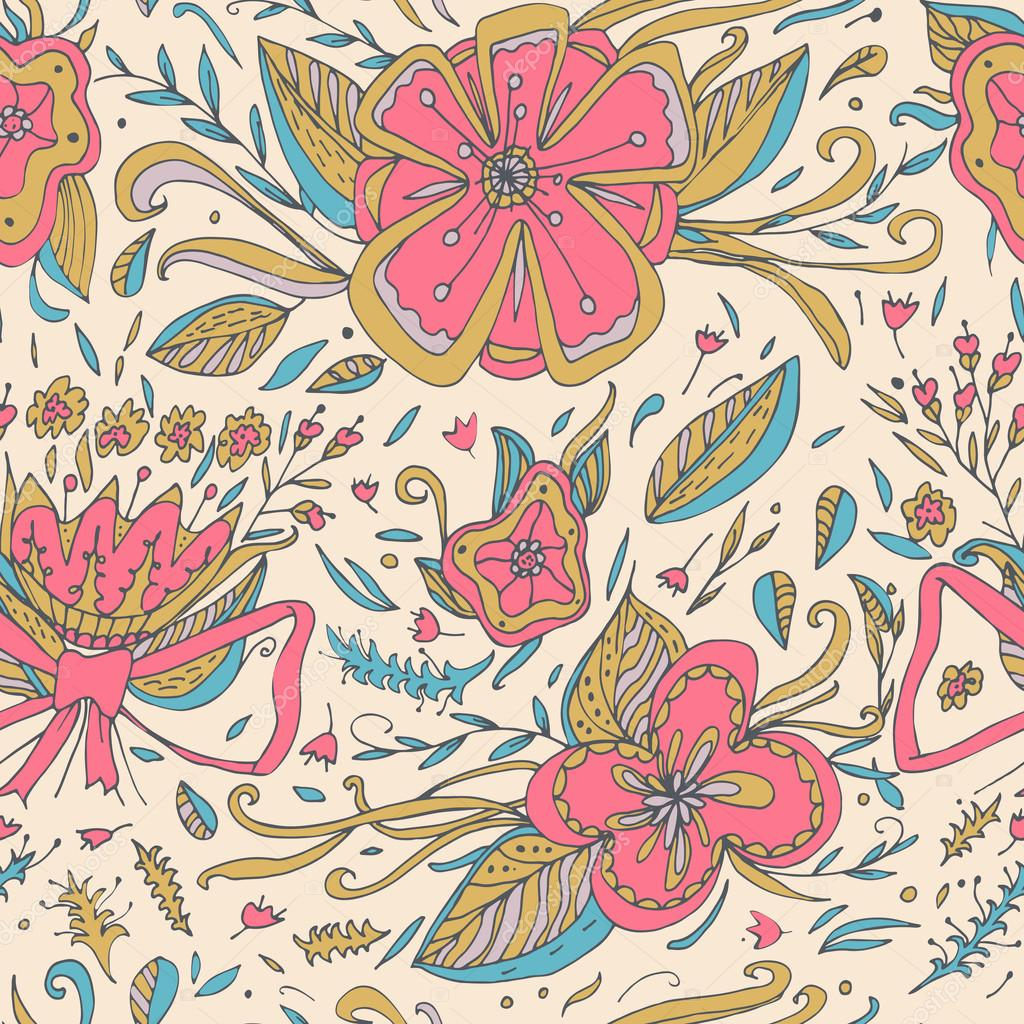 Abstract Elegance Seamless Floral Pattern On A Pastel Background