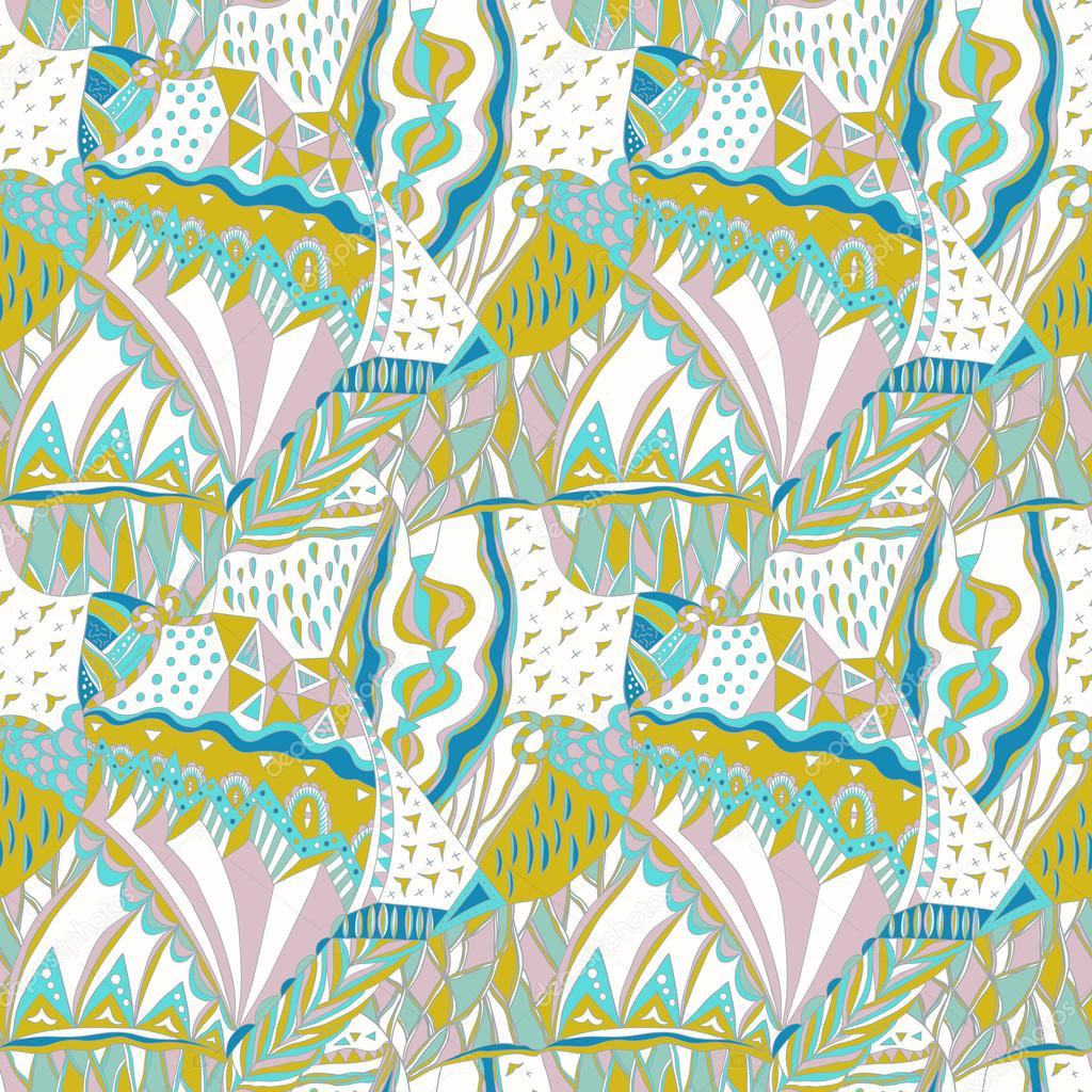 Traditional ornamental pattern. Hand drawn colorful aztec pattern with artistic elements. Pastel colors.