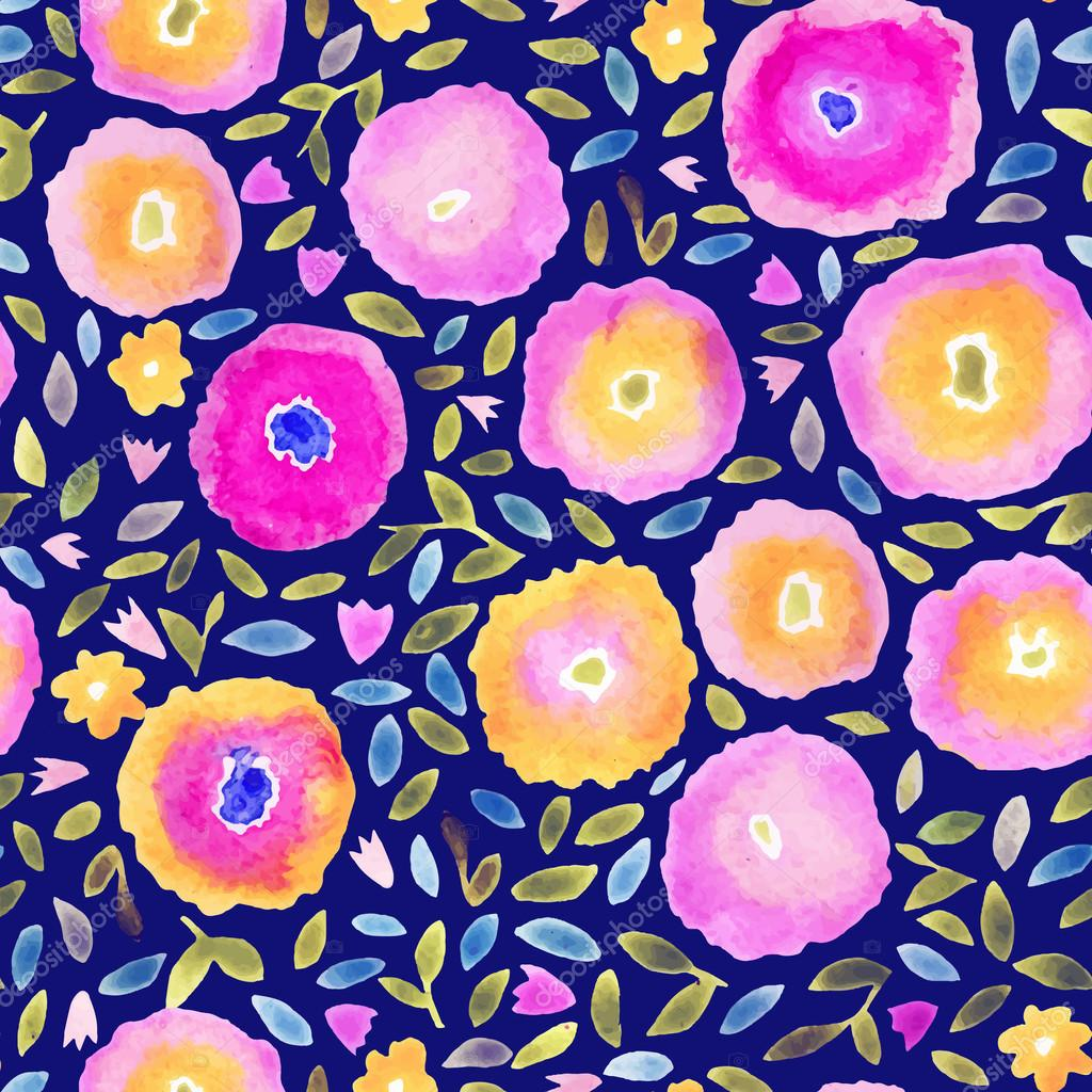 Hand paint watercolor floral seamless pattern. Flowers and leaves. Can be used for invitations, cards or print.
