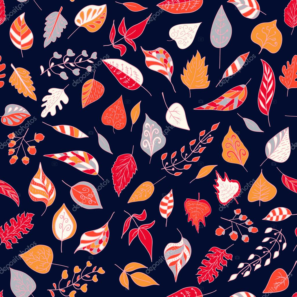 Seamless pattern with colored autumn leaves  on a dark background. Vector illustration