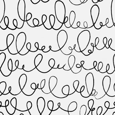 Doodle abstract pattern with ligature. Black and white colors.