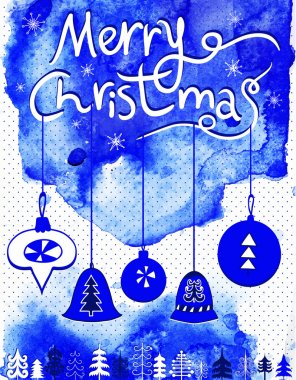 Merry Christmas card, Christmas bubbles,  trees and snowflakes.