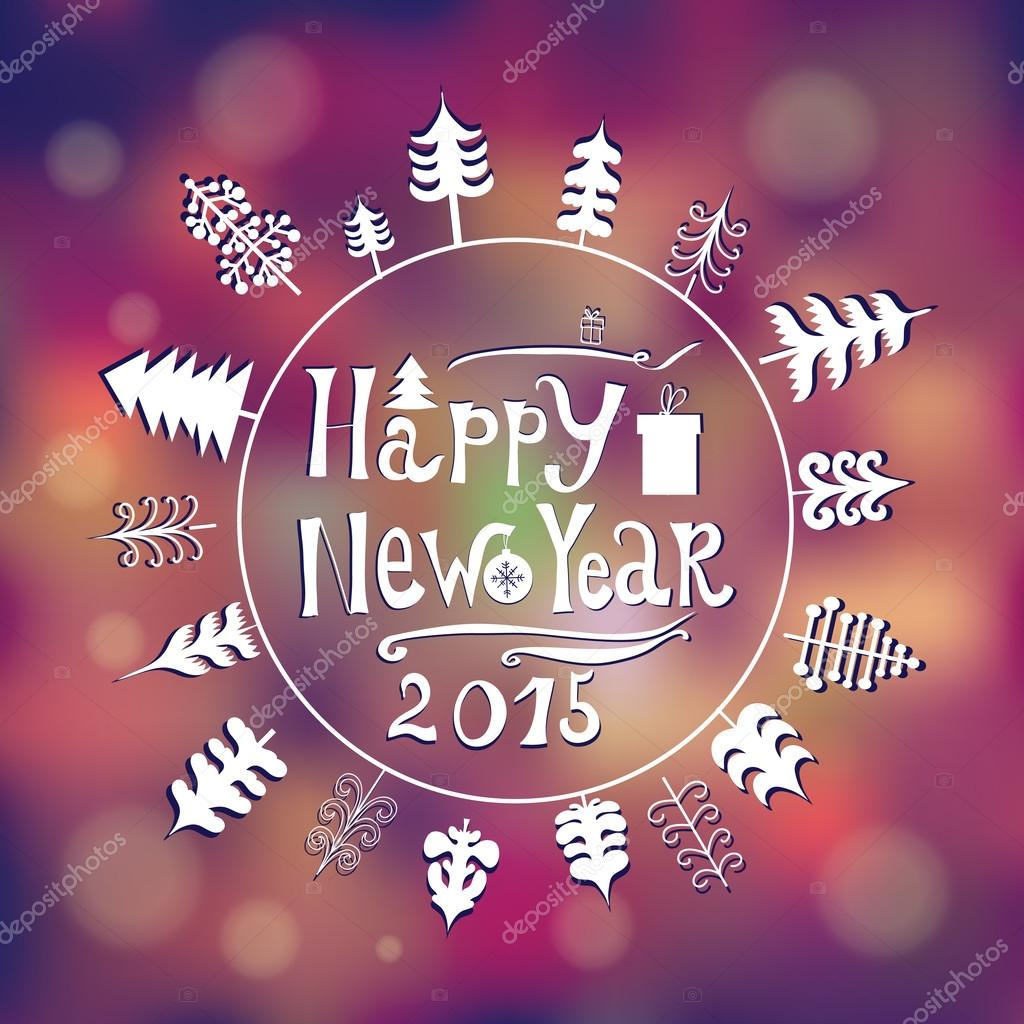 New year 2015 greeting card in minimalistic style with circle of new year 2015 greeting card in minimalistic style with circle of trees stock vector m4hsunfo