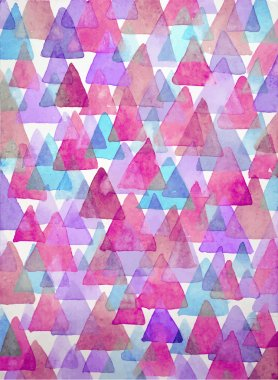 Watercolor triangles background. Triangles background of geometric shapes.
