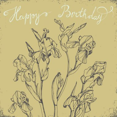 Happy Birthday Card with bunch of irises.