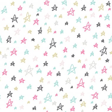 Seamless stars pattern. Colorful hand drawn doodles on white background. Vector illustration.