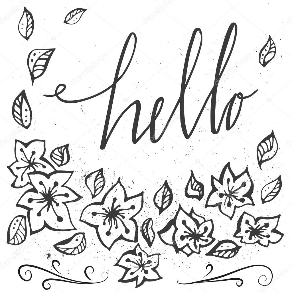 vector hand drawn typography poster with flowers and inscription rh depositphotos com