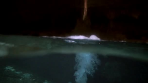 Cave diving in underwater caves of Yucatan Mexico cenotes.