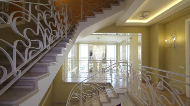 Panorama hall with a staircase in fashion house.