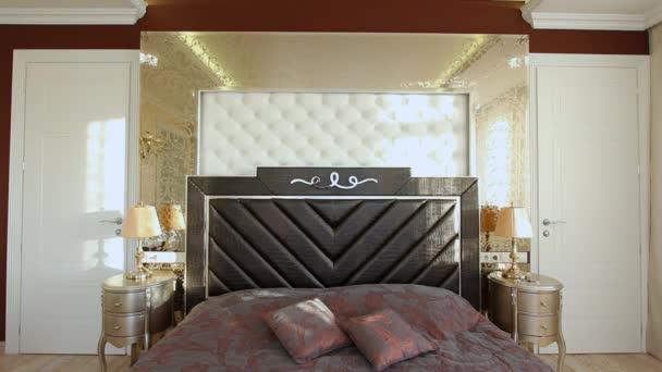 Hálószoba nagy ágy és egy fésülködőasztallal.