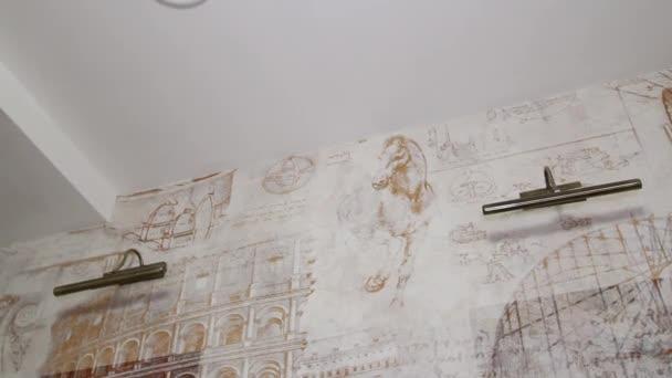 Luxury Apartment Interior. Painting on wallpaper.