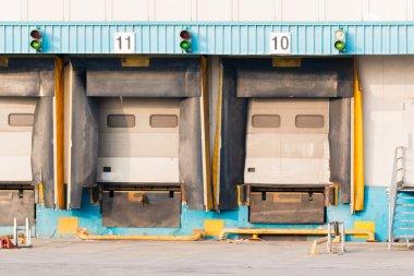 Distribution Center's empty Loading dock cargo doors