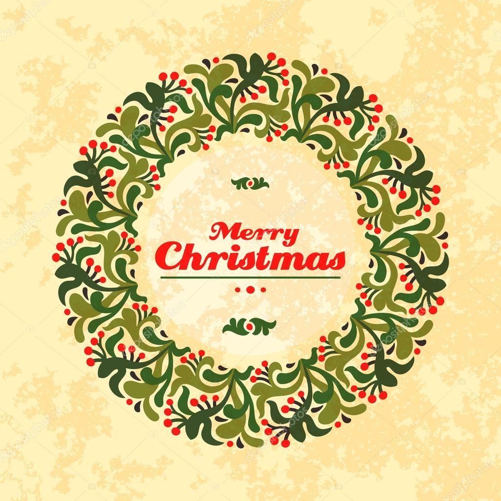 Frohe Weihnachten runden Rahmen — Stockvektor © image4stock #82352700