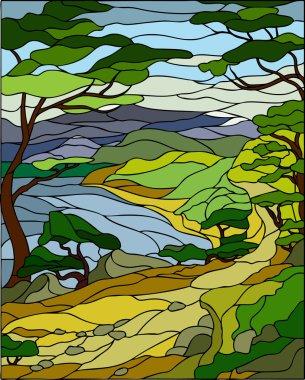 Sea or river abstract design landscape