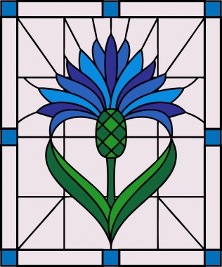 blue cornflower in stained glass