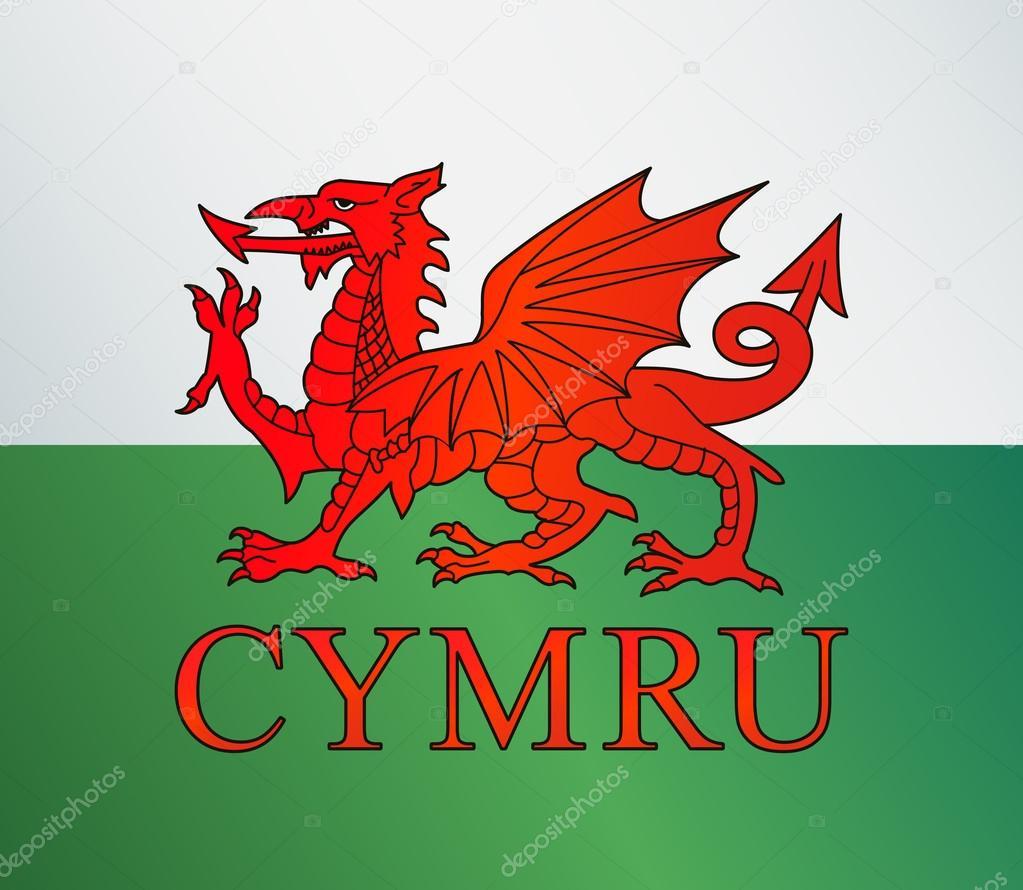 drapeau du pays de galles avec dragon illustration