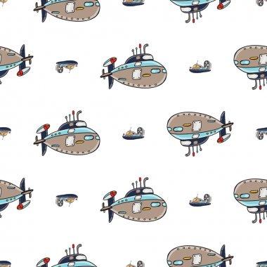 Seamless boats pattern