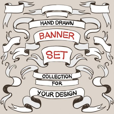 hand drawn blank vintage banners