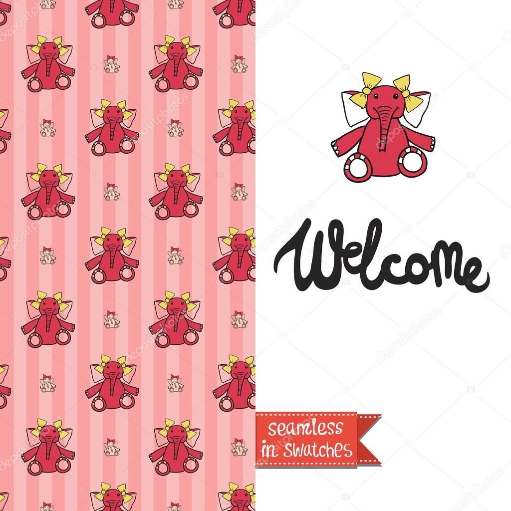 Vintage Greeting Card For Newborn Baby Stock Vector Sopelkin