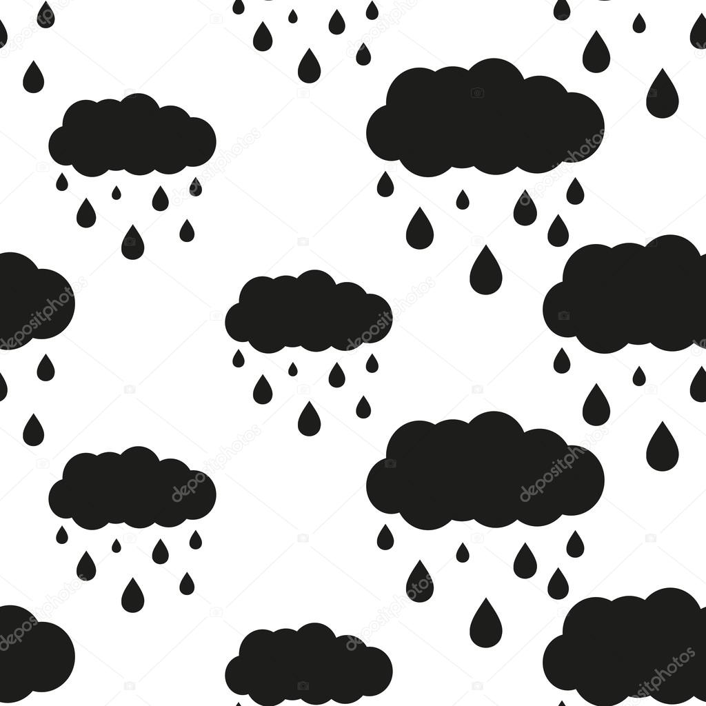rainy cloud seamless pattern