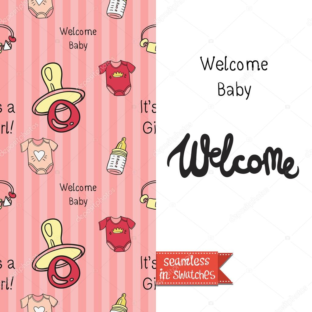 Vintage Greeting Card For Newborn Baby Stock Vector Sopelkin