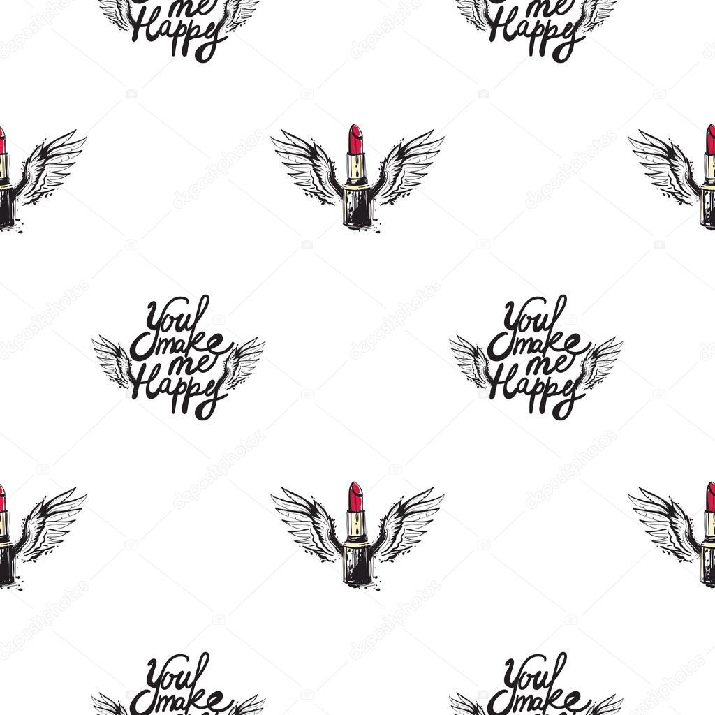 Lippenstift Mit Flügeln Und Angebot Muster Stockvektor Sopelkin