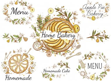 hand drawn baker business baked label