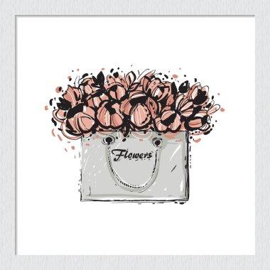 hand drawn flowers bag sketch