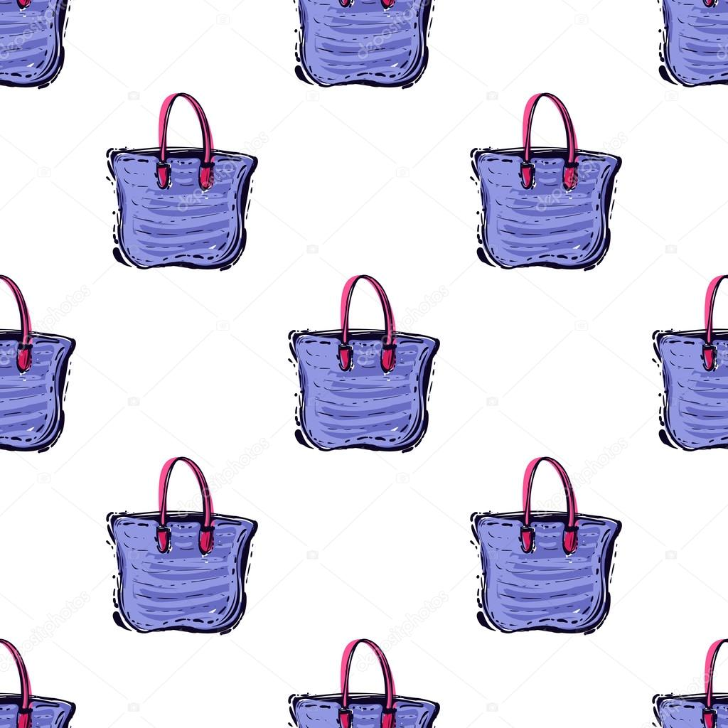 4983af1bc9 Summer beach vector seamless pattern with fashion colorful beach bag. Hand  draw vector illustration. — Vector by Sopelkin