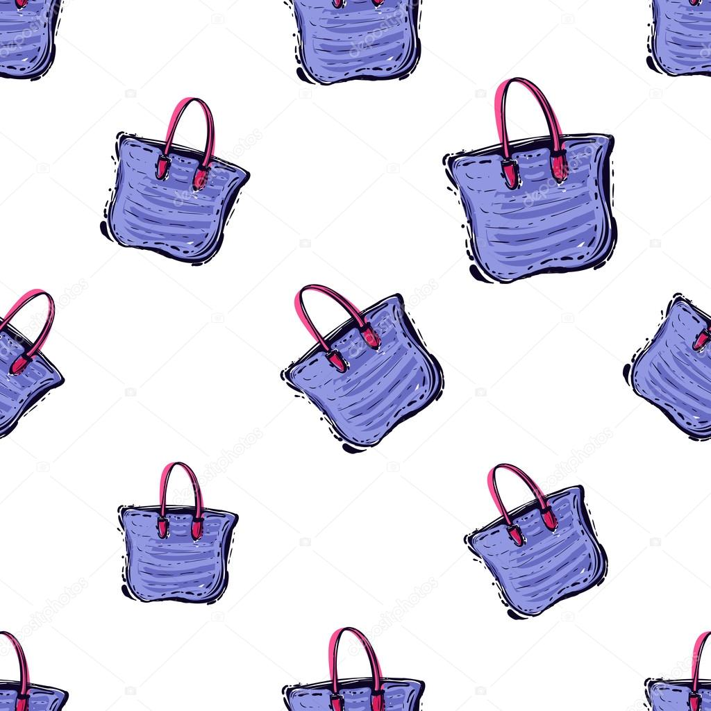 f5a4729e40 Summer beach vector seamless pattern with fashion colorful beach bag. Hand  draw vector illustration.